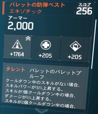 バレットの防弾ベスト「エキゾチック」火力振りビルドの防具