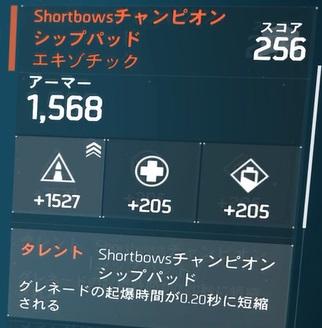 Shortbowsチャンピオンシップパッド「エキゾチック」火力振りビルドの防具