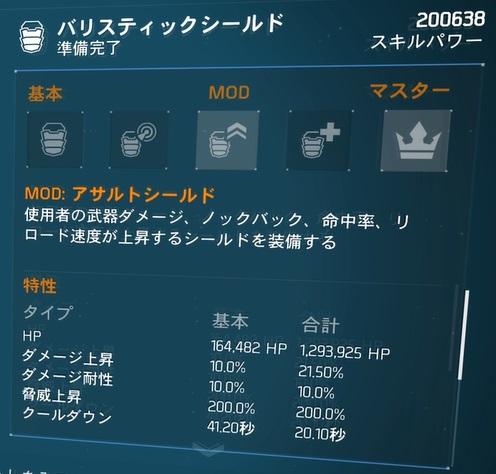 D3-FNCバリスティックシールドビルドの数値「シールドダメージ上昇MOD」