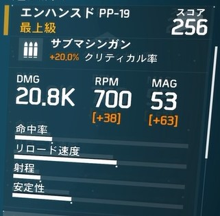 D3-FNCバリスティックシールドビルドの武器「エンハンスド PP-19」