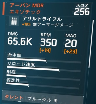 アーバンMDR 数値 オール「エキゾチック」火力振りビルドの武器