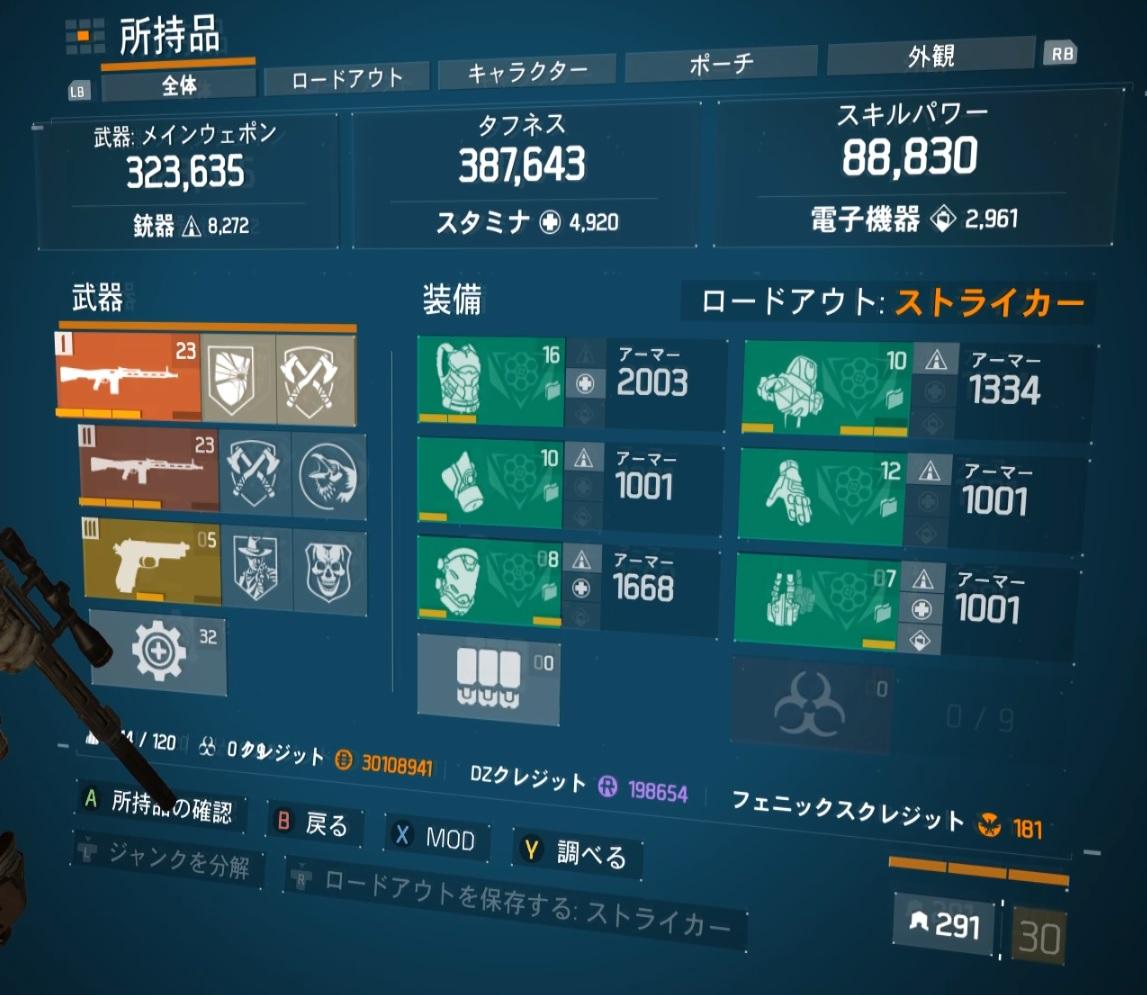 【ディビジョン1.8.1】ストライカークラシ6限界値最強ビルド【敵瞬溶け】